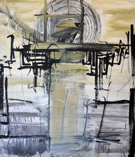 Barriere / Öl, Acryl auf Leinwand / 140 x 120 cm / 2018